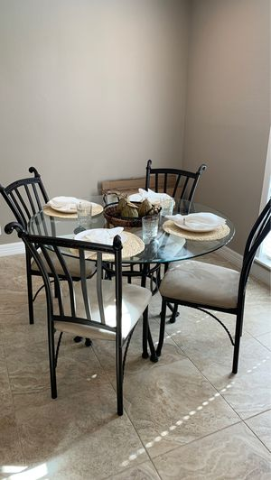 Glass and metal table and chairs for Sale in Cypress, TX