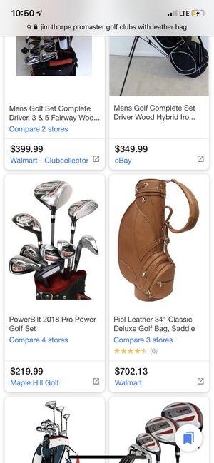 "Northwestern Jim Thorpe golf clubs w/ Piel Leather 34"" bag for Sale in Nashville, TN"