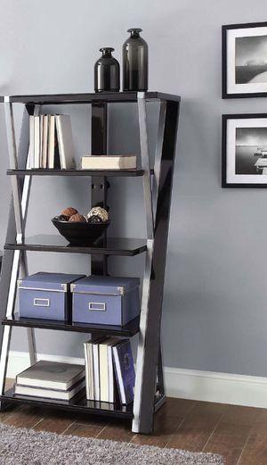 New!! Bookcase, bookshelves, storage unit, organizer, shelving display, 5 tampered black glass shelves bookcase set of 2, living room furniture entra for Sale in Phoenix, AZ