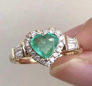 Fashion Green Heart Stone Rings Luxury Cubic Zircon Wedding Band Promise Love Crystal Rings Jewelry for Sale in New City, NY