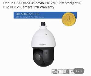100% new and working guaranteed. Dahua dh-sd49225in-hc 2MP 25X starlight technology PTZ hdcvi camera Full HD 1080p long range, pattern, tour, prese for Sale in Davie, FL