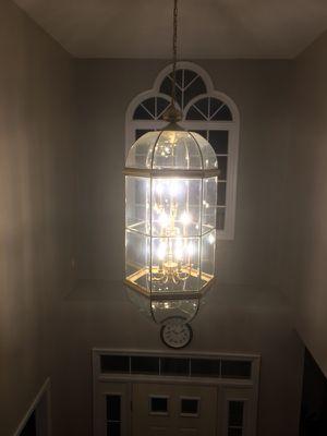 12 bulb brass beveled chandelier led bulbs included for Sale in Sterling, VA
