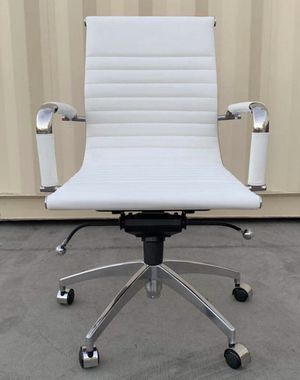 NEW $130 Each Genuine Leather Ribbed Low Mid Back Office Computer Conference Chair Aluminum Base Top Quality Guarantee for Sale in Covina, CA
