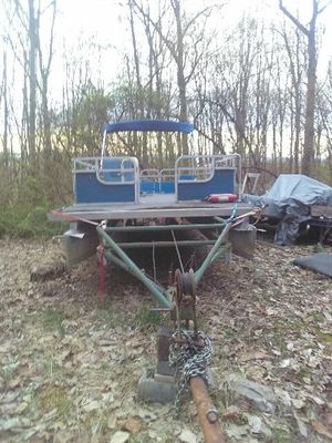 Pontoon boat with trailer and a almost new Mercury motor for Sale in Hanover, PA