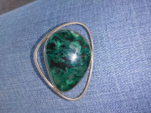 Vintage brooch or necklace pendent .925 Israel silver with green stone for Sale in Port Neches, TX