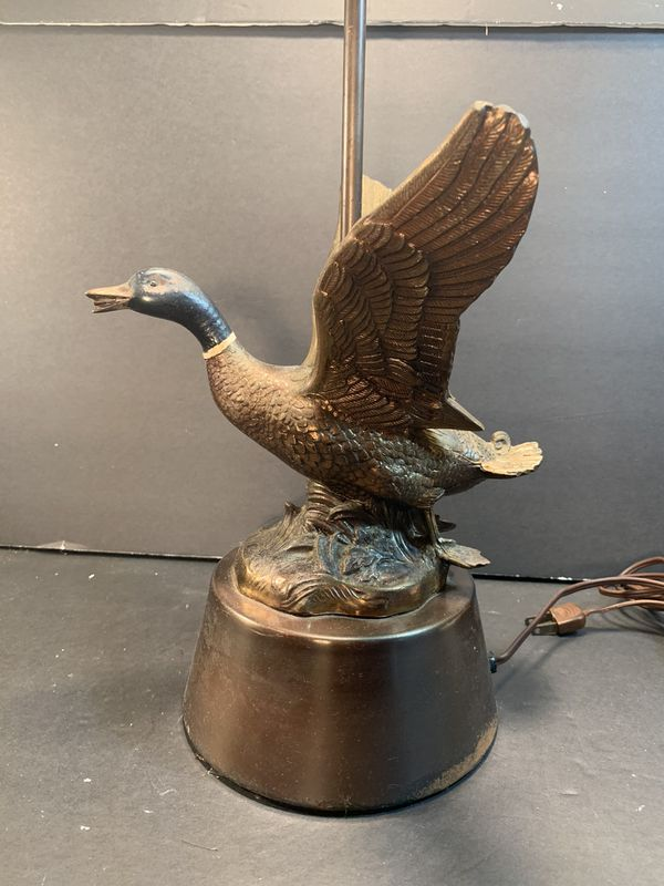 """Antique Metal Handpainted Mallard-Duck Table Lamp with Shantung Shade (Height: 23"""")"""