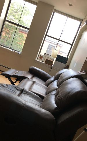 Faux leather couch with recliner, used for less than 4 months for Sale in Boston, MA