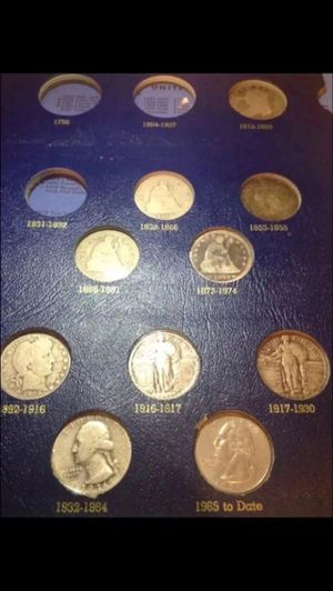 Valuable RARE 1800's-1900's SILVER Type Coins Set- Includes Scarce Capped Bust Quarter- Entire Page Shown- Incredible Value for Old Silver Coins! for Sale in Fairfax, VA