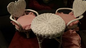 Vintage Doll or Teddy Bear Toy Wicker Furniture White for Sale in Austin, TX