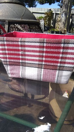 Red woven basket with leather strap for Sale in Sanger, CA