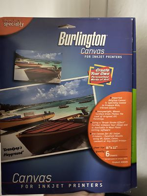 Burlington Canvas for inkjet printers (6 sheets 8.5x11) for Sale in Medley, FL