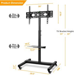 """TV Stand Cart Rolling Wheels with Tilt Mount Height Adjustable for 32""""-70""""TVs for Sale in Ontario,  CA"""