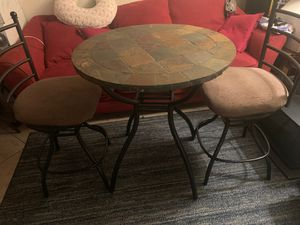 Stone Bistro Table w/ 2 rotating stools. $120 obo for Sale in Clearwater, FL