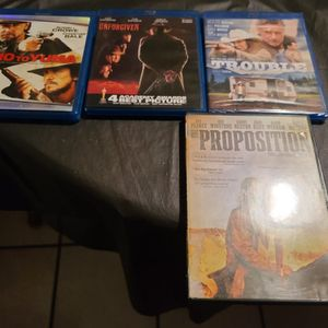 3:10 To YUMA + UNFORGIVEN + TROUBLE + THE PROPOSITION WESTERN BLU RAY / DVD LOT for Sale in West Sacramento, CA