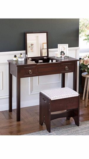 Vanity Set with Flip Top Mirror Makeup Dressing Table Writing Desk with 2 Drawers Cushioned Stool 3 Removable Organizers Easy Assembly, Brown for Sale in Corona, CA