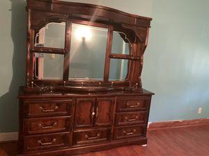2 Piece Dresser Hutch, Solid Wood, Needs Restain for Sale in Saginaw, MI