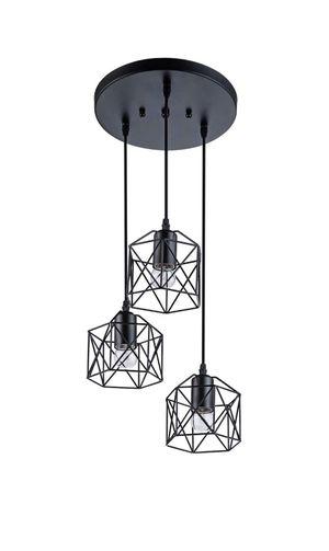 New Industrial 3-Light Adjustable Hanging Pendant Light Fixture, Black Metal, Farmhouse, Rustic for Sale in Pasadena, CA