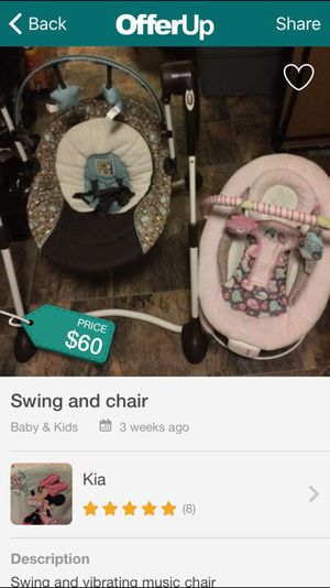 Baby swing and chair for Sale in Glen Burnie, MD
