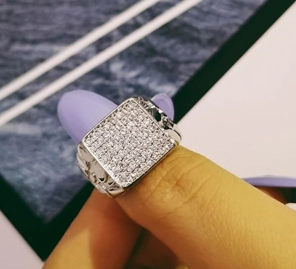Solid 925 Sterling Silver Lab Diamonds Men's Wedding Ring Size 10