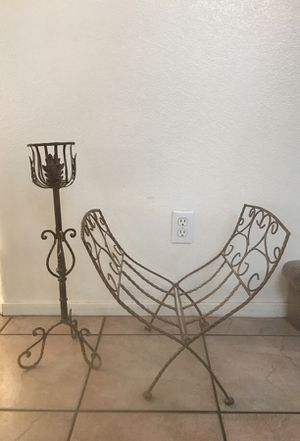Wrought Iron Rust Colored Candle Stand & Magazine Rack~~BOTH for $10 for Sale in Las Vegas, NV