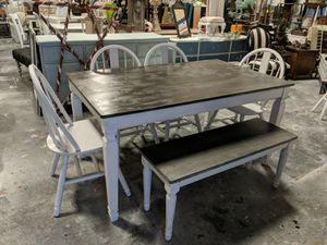Rustic top Dining table with 4 chairs and Bench for Sale in Raleigh, NC