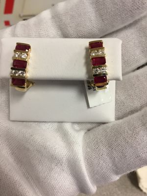 Synthetic ruby earrings with 8 diamonds .48ctw 14k for Sale in South San Francisco, CA
