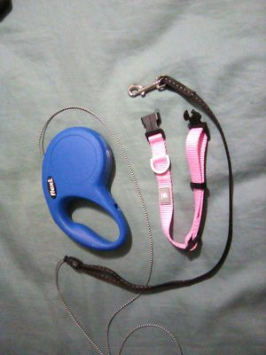 Flexi retractable pet small dog leash and collar pink blue new for Sale in Miami, FL