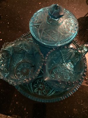 Vintage 1950 Blue Pressed Glass 5 Piece Set, Tray, Creamer, Sugar Bowl, & Covered Dish Collectible, Full set RARE! for Sale in Chicago, IL