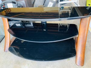 Wood and glass tv stand for Sale in Buena Park, CA