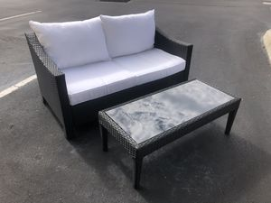 Beautiful black and white weather-proof resin loveseat patio set for Sale in Trinity, FL