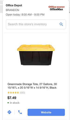 Tough box Storage Tote, 27 Gallons for Sale in Riverview, FL