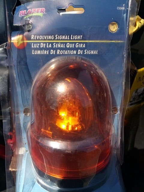 Beacon light orange and a green