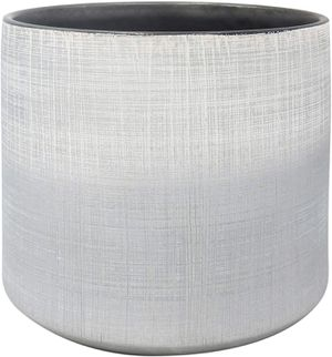 "Stoneware Crosshatch Indoor Outdoor Flower Plant Pot, 8.7""H, Silver for Sale in Los Angeles, CA"