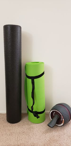 Half Inch Yoga Mat, Ab Roller, 36 inch High density Round Foam Roller for Sale in Maryland Heights, MO