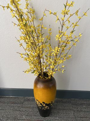 Yellow, black and brown vase + faux flowers for Sale in Phoenix, AZ