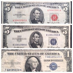 THREE BILLS - CRISP Higher Grade 1953 $5 Dollar Silver Certificate, 1963 Red Seal $5 Dollar, 1935 E Silver Certificate $1 - All Nice! for Sale in St. Charles, IL