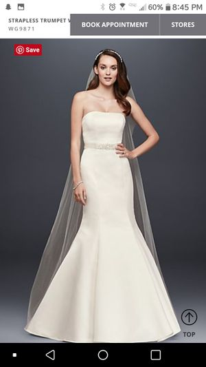 Strapless Trumpet Wedding Dress with Ribbon Waist for Sale in Long Beach, CA