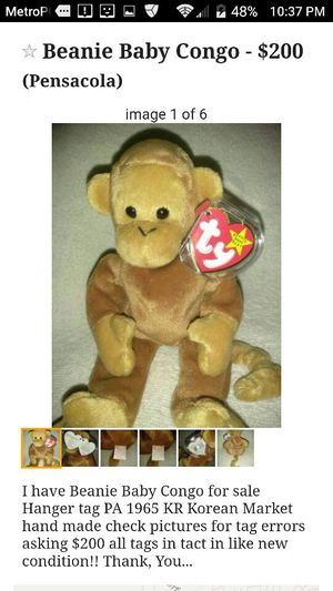 2b292f1f97f Beanie Baby Congo Korean Market hand made for Sale in Pensacola
