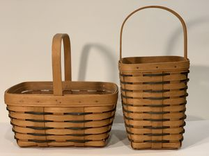 2 Beautiful Longaberger Baskets black & beige Heartland Collection for Sale in Woodinville, WA