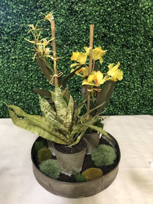 Orchid and spider plant in tin pot artificial fake for Sale in Huntington Park, CA