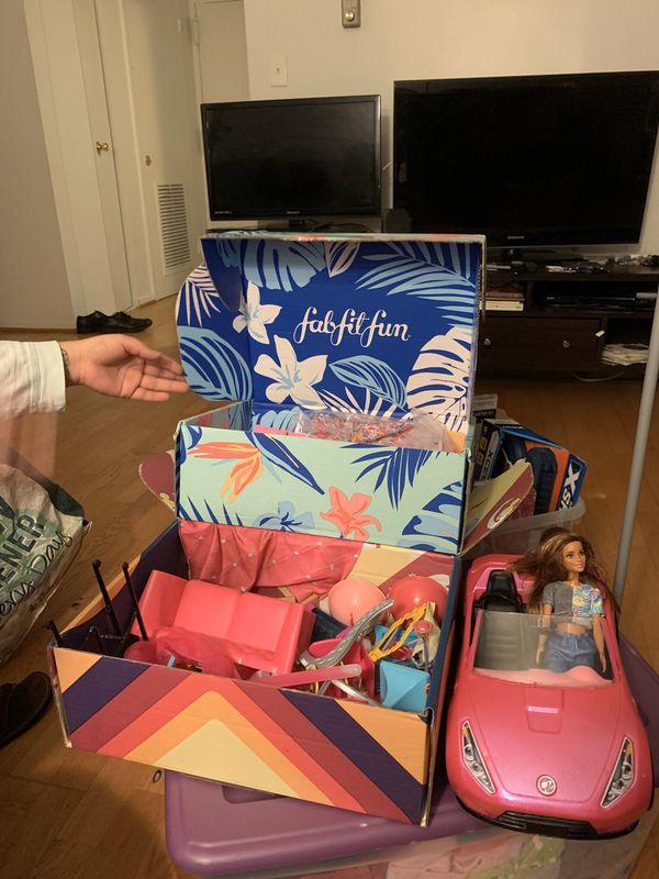 Barbie accessories plus babie doll and car