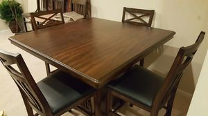 Brand new 5 piece wood dining table set with buffet cabinet and 4 faux leather chairs for Sale in Baltimore, MD