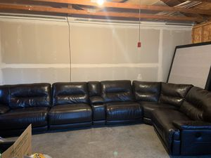 Leather couch and ottoman for Sale in Estacada, OR