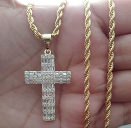 Icedout Baguette Cross pendant with Rope Necklace for Sale in Los Angeles,  CA