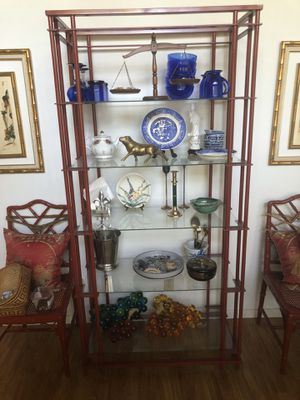 Red metal and glass display shelf for Sale in Riverside, CA