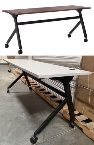NEW 2 Person HON Flip Base White or Coffee Brown Laminate Office Computer Desk Conference Table 72x24x30 inches Tall Wheels Retail Value $500 for Sale in Whittier, CA