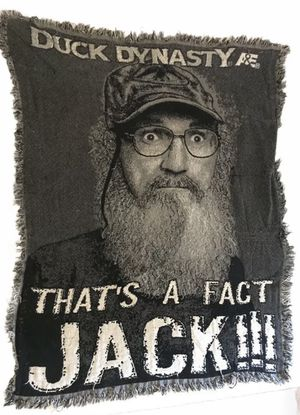 "DUCK DYNASTY UNCLE SI WOVEN JACQUARD 48"" X 60"" THROW BLANKET THATS A FACT JACK for Sale in Port Richey, FL"