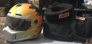 Simpson late model racing helmet, neck brace and bag for Sale in Clinton, MS