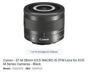Canon Ef-m 28mm f3.5 macro lens for Sale in Las Vegas, NV
