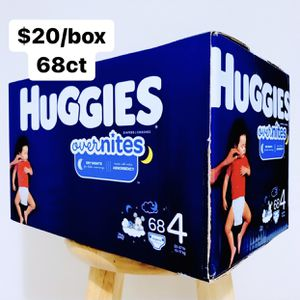 Size 4 (22-37 lbs) Huggies Overnites (68 baby diapers) for Sale in Anaheim, CA